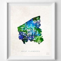 West Flanders, Map, Belgium, Print, Watercolor, Europe, Home Town, Poster, Country, Nursery, Decor, Painting, Bedroom, World [NO 1248]