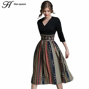 H Han Queen Autumn New Printing Casual Women Dresses Retro Big Swing Sexy V-neck Slim Office Party Chiffon Long Dress Vestidos
