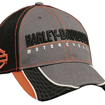 Harley-Davidson Men's 3 Tone Colorblocked Baseball Cap, Black/Gray BCC51675