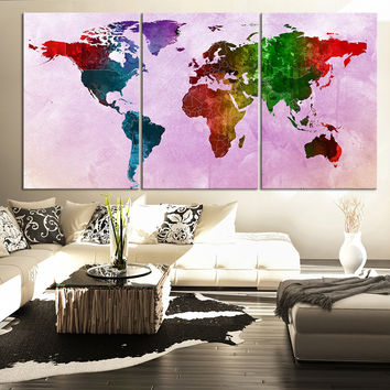 Large Wall Art Canvas Print Watercolor World Map - Contemporary 3 Panel Triptych Watercolor Pink Splatter World Map Canvas Art