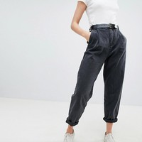 ASOS DESIGN Tapered Jeans With Curved Seams And Belt In Washed Black at asos.com