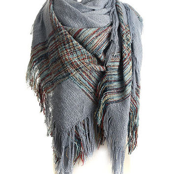 Multi Color Stripe Tasseled Scarf