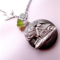 Country Home Silver Locket Necklace With by FashionCrashJewelry