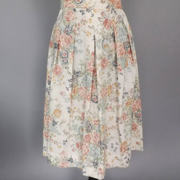 Size Large Vintage 1970s 80s Oatmeal Rose Floral High Waist Linen Rayon Circle Skirt Summer A-Line Folk 50's 60s Style Hipster Size 16