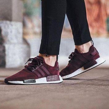 PEAPUX5 Adidas NMD R1 Suede Maroon S75231 Boost Sport Running Shoes Classic Casual Shoes Sneakers