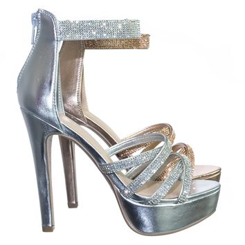 Mullen Rhinestone Embellished Open Toe Platform Stiletto Party Dress Sandal
