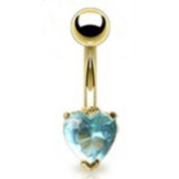 "14g Gold Plated Sexy Belly Button Navel Ring Body Jewelry Piercing with Aqua Gem Heart Non Dangle 14 Gauge 3/8"" Nemesis Body JewelryTM"