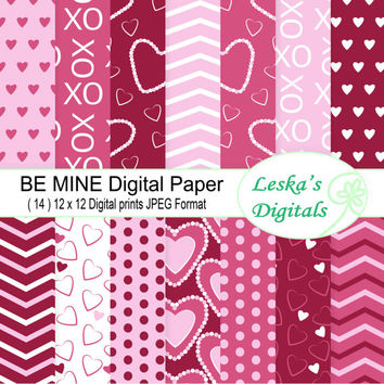 Pink valentine digital paper, heart digital backgrounds, pink digital paper download, valentine printable paper - Digital Scrapbook Paper