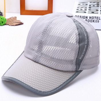 DCCKWQA 2016 new fashion sports caps Baseball cap Mesh hat Ventilate and cool hats for girl boy women men Solid cotton Adjustable hat
