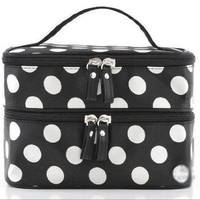 Unique Cosmetic Bag White Dots Pattern Double Layer Cosmetic Travel Portable Bag Black Fashion