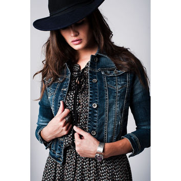 Denim jacket with embellished star detail