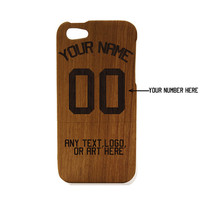 Wood iPhone 5 case - World Cup iPhone case Custom Sports Jersey - Natural Wood iPhone Case Engraved, Basketball , Baseball , Soccer