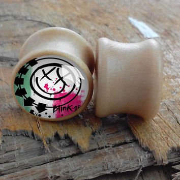 Blink-182  woond plugs,ear plugs body jewelry,0g plugs,00g plugs,2g plugs.
