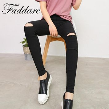 2017 Fashion New Imitate Jeans Women Knee Skinny Pencil Pants Slim Ripped Jeans For Women Black Ripped Jeans S-XL