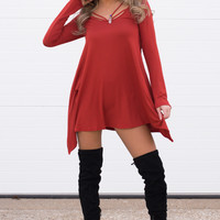 Cassi Long Sleeve Strap Dress - Rust