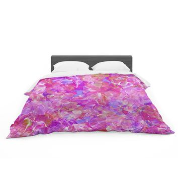 """Ebi Emporium """"Bloom On! Pink """" Purple Abstract Featherweight Duvet Cover"""