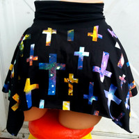 Galaxy gothic crosses pixie hem mini skirt