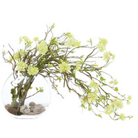 GREEN WILLOW WATERLIKE SILK FLOWER ARRANGEMENT