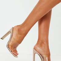 Missguided - Nude Square Toe Clear Strap Illusion Heel Mule