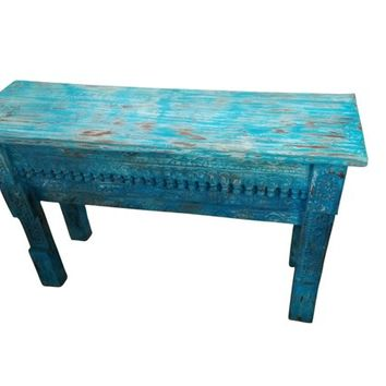 Distressed Wooden Antique Table Beautiful Hand Carved Vintage Blue Console Sofa Table Interior Design