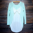 snowed in sheer bow back sweater tunic mint