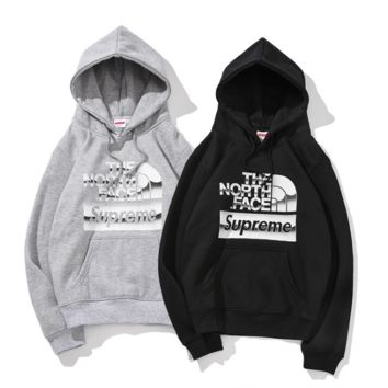 Supreme Loose Casual Print Long Sleeve Hooded Sweater