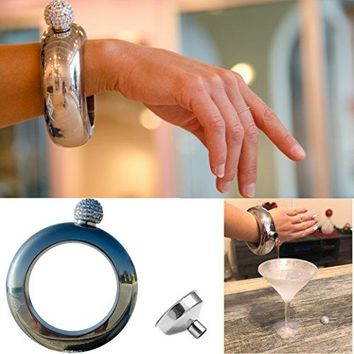 No1 Bangle Bracelet Flask With Sparkling Rhinestone Lid Perfect For Liquor And Wine Great Gift For Every Woman Glisten And Secret 304 Stainless Steel Shiny And Classy Silver 35 oz