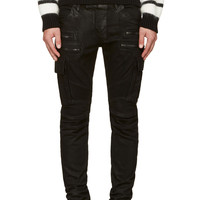 Balmain Black Coated Cargo Biker Jeans