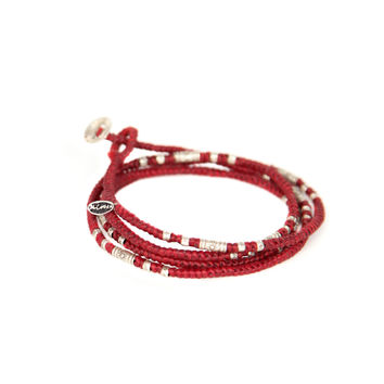 Four Wrap Waxed Knotted Cord with Silver Tubes Bracelet - M. Cohen
