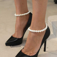 New Arrival Shiny Ladies Cute Sexy Gift Jewelry Simple Design Stylish Pearls Stretch Anklet [4918823684]
