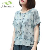 Johnature 2017 Summer Short Sleeve Women T-Shirts Linen Cotton Tops Loose Flower Print O-Neck Japanese Style Vintage Shirt