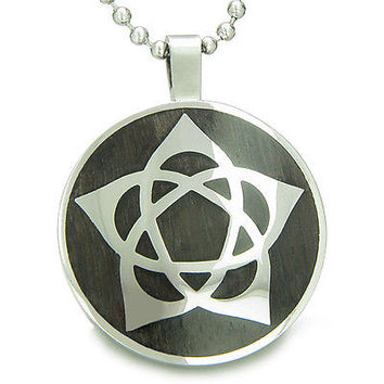 Flower of Life Wiccan Pentacle Star Black Wood Amulet Magic Powers Circle Pure S