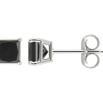 18k White Gold Princess Black Crystal Diamond Stud Earrings