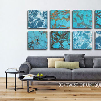 Blue turquoise Abstract paintings / ORIGINAL 8 panel ( 15 x 15 Inch) Abstract Wall Art / Turquoise, Copper, Bronze, Gold, black, white