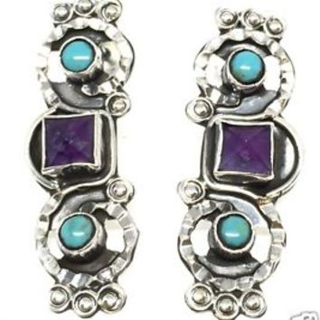 TAXCO MEXICAN STERLING SILVER AMETHYST AND TURQUOISE EARRINGS MEXICO