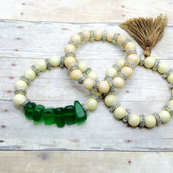 Beach Jewelry Sea glass Bracelet Bead Stack Bracelet Set wooden bead Bracelet stack  Boho Jewelry Set of 3 Sea gypsy mermaid jewelry