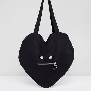 Lazy Oaf Heart Shaped Cotton Zipper Bag at asos.com