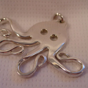 A Beautiful Fork Octopus Necklace on a Black Cord any Length Handmade Fork Jewelry o23