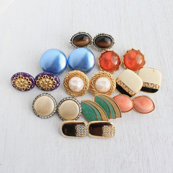 Vintage Colorful Large Clip On Earring Lot - 10 Pairs of Gold and Silver Tone Costume Jewelry / Sarah Cov , Avon ...