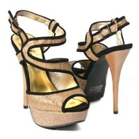 Qupid Women's Dazzling14 Stilettos High Heel Sandal Ankle Strap Pumps Glitter, Bronze Synthetic