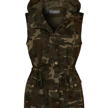 Safari Camo Drawstring Waist Hoodie Military Anorak Vest with Pockets