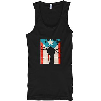Puerto Rico Boricua Strong Flag Fist Tank Top