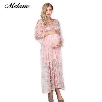 Maternity dress Floral Embroidery Lace Princess Pregnancy Dress
