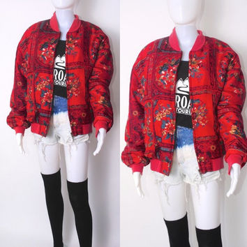 Vintage 1980s 90s oversize zip up RED SILK Baroque chain floral print Versace inspired bomber jacket coat