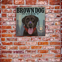 Brown Dog Chocolate Lab Wine Company original graphic art on gallery wrapped canvas by stephen fowler