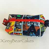 Star Wars Keychain Zipper Bag with Black lining - Chapstick or Money Purse Keyring - Handmade Quality