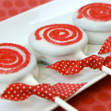 Red and white chocolate dipped Oreo pops, Oreo covered cookies, party favors.