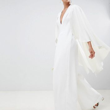 ASOS EDITION cape wedding jumpsuit at asos.com