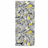 "Laura Nicholson ""Blackbirds On Gray"" Gray Yellow Luxe Rectangle Panel"