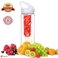 Fruit Infuser Water Bottle PET Plastic Clear 26oz